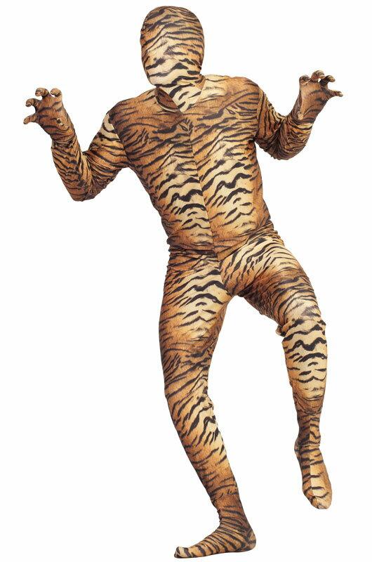 ハロウィン パーティ コスプレ Tiger 全身タイツ スキンスーツ 爆笑 一発芸 大人用 衣装 大人用 面白い 学園祭 文化祭 大学祭 コスチューム 変装 仮装:Mars shop