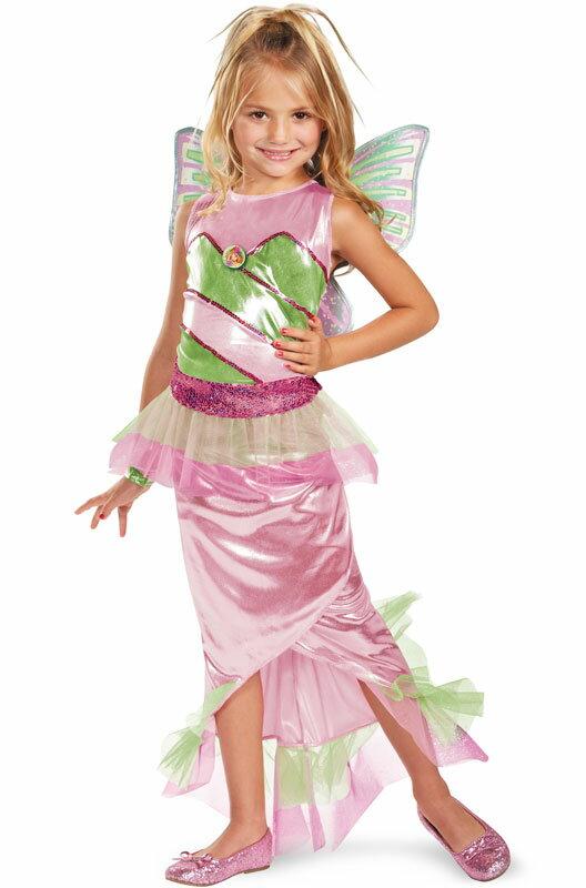 ハロウィン コスプレ Winx Club Flora Mermaid デラックス 子供用 衣装 男の子 女の子 小学生 かわいい 面白い 妖精 Fairy 学園祭 文化祭 大学祭 コスチューム 仮装 変装:Mars shop