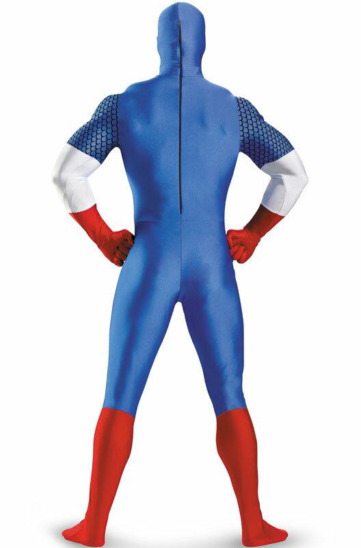 ハロウィン パーティ コスプレ キャプテンアメリカ キャプテン・アメリカ マーベルヒーローズ Skinovations Captain America 全身タイツ ボディスーツ 子供用 衣装 男の子 女の子 小学生 かわいい 面白い ヒーロー 学園祭 文化祭 大学祭 コスチューム 変装 仮装:Mars shop
