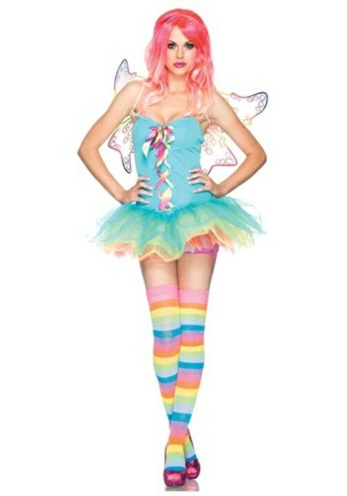 ハロウィン パーティ コスプレ セクシー RAINBOW 妖精 フェアリー 大人用 レディス 女性用 衣装 ドレス ワンピース ディズニーランド 衣装 学園祭 文化祭 コスチューム 変装 仮装:Mars shop