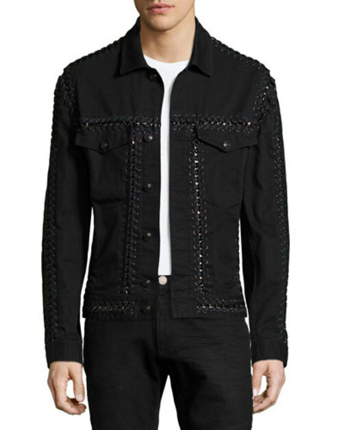Long-Sleeve Jacket W Woven-Stitch Detail, Black