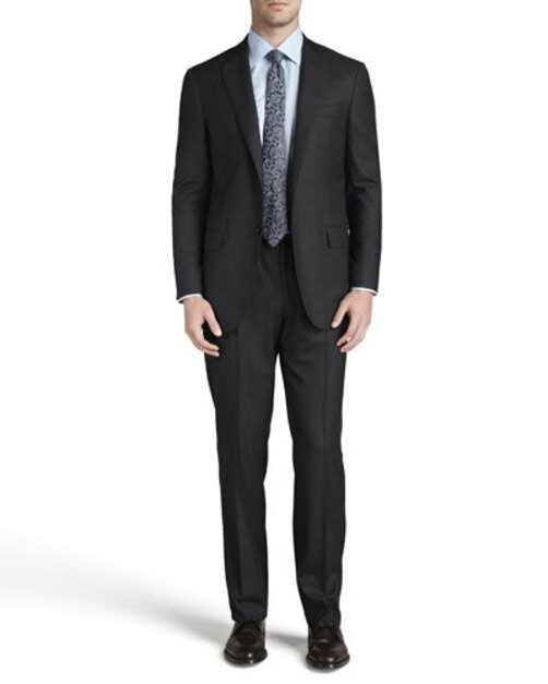 Two-Button Wool Suit, Gray