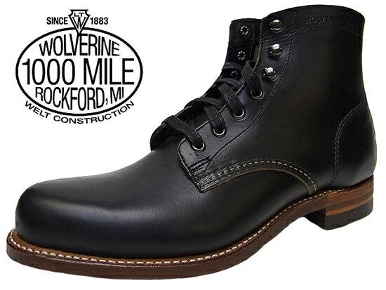 【送料無料】WOLVERINE 1000MILE BOOT PLAIN TOEウルヴァリン 1000マイルブーツ ウルバリンBLACK Dワイズ MADE IN USA ブラック 黒