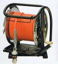 フジマックマッハエアーホースドラム高圧用3.0Mpa長さ30mオレンジ:NHDALB-630TC/ホワイト:WHDALB-630TCスチール製:回転台ありオートロックスウィングダスターソケット付 エアーホースドラム内径6.0mm×外径10.0mm【送料無料】