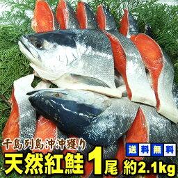 *送料無料★ ロシア産沖獲り 天然塩紅鮭 1尾 約2.1kg(切身・中辛塩)紅鮭を一尾1本まるごと カットしてお届け。