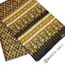 計り売り30cm〜 手芸 ハンドメイド 素材 雑貨 小物 個性的 ダマスク 風 ゴージャス ファブリック タイ アジアン 黒 ゴールド fabric
