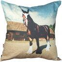品格のあるりりしい馬のシリーズ!animals fabric クッションカバー ポニー (ブラック)