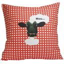 赤いギンガムチェックの中のキュートな牛!animals fabric クッションカバー ギンガムチェッ...