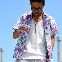 アロハシャツ メンズ 夏 綿 総柄 花柄 プリント 半袖 Roushatte ルーシャット 全20柄 S/M/L/LL