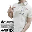 AVIREX/アビレックス 〜スラブ鹿の子素材〜 #6133025No, 『』のパッチワーク付き 『CRAFT MAN'S』 リメイク風 ミリタリー半袖ポロシャツ