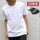 EDWIN Tシャツ メンズ 夏 無地 ワンポイント ロゴ 刺繍 半袖 ホワイト/グレー/ブラック/オリーブ/ネイビー M/L/XL