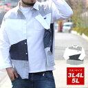 全品送料無料 7分袖 シャツ 大きいサイズ メンズ 春 夏 くじら クレイジー ネイビー 3L/4L/5L