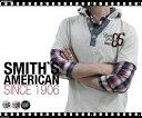 Smiths American/スミスアメリカンフェイクレイヤード チェックシャツ+ヘンリーネックパーカーの新提案【ストリート/カジュアル/ユニセックス/重ね着/古着/チェック柄/分袖/パーカー/プルパーカー】