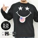 大きいサイズ メンズ Tシャツ 長袖【キングサイズ 2L 3L 4L 5L マルカワ プリント スマイル スマイリー 迷彩 アメリカ ベロ ストリート】