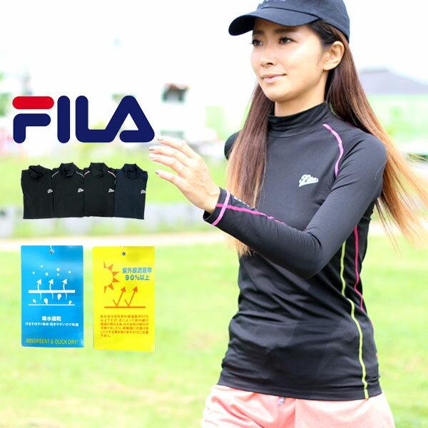 フィラ コンプレッション レディース 吸水速乾 UVカット ブラック/ネイビー M/L/LL