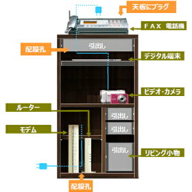 Module(モジュール)44キャビネット【送料無料】[収納家具電話台ファックス台FAX台収納ブラウン木製ウォールナット北欧ナチュラル]
