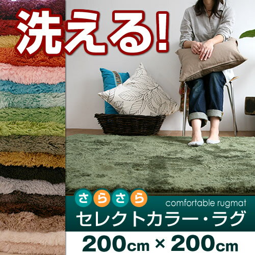 20色・7サイズから選べるラグ 洗えるタイプセレクトカラー・ラグ カーペット丸洗いOK! オールシーズン使える床暖房 & ホットカーペットカバー 対応サイズ:約 200×200 cm