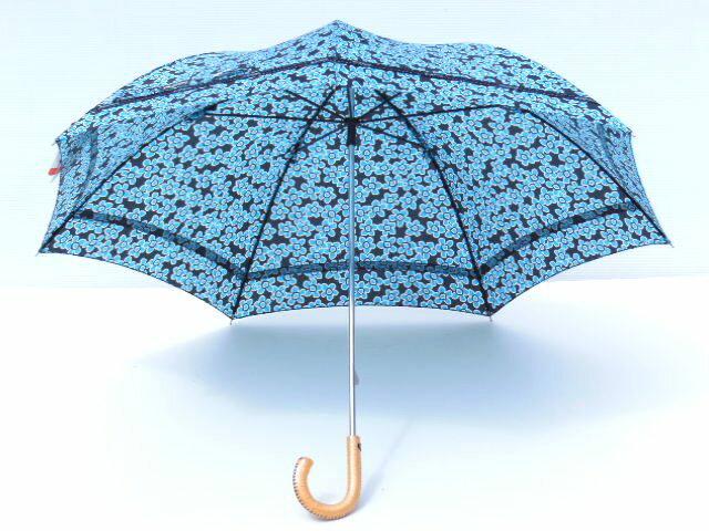 晴雨兼用日傘!UV加工!リボンテープ晴兼ショート傘50cm【ブルー】