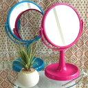 片面は便利な3倍拡大鏡!両面鏡の卓上ミラー!デスクトップスタンドミラー【ピンク or ブルー】