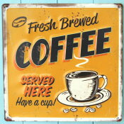 アンティークなカフェ風ブリキの看板!デザインボードメタル M【コーヒーYE】 ※定形外可400円
