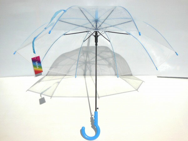 お洒落なビニール傘!カラフルなグラスファイバー骨!ワンタッチ式ジャンプ傘60cm【ライトブルー】