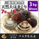 【送料無料】三重県桑名産 天然大はまぐり 7年もの以上蛤(ハマグリ)6cm以上3kg(30粒前後)入