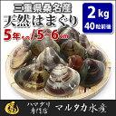 【送料無料】三重県桑名産 天然はまぐり 5年もの蛤(ハマグリ)5cm〜6cm2kg(40粒前後)入