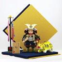五月人形 幸一光 子供大将飾り 翔 (しょう) 鎧着 菱形屏風(黄・紺) 鎧着 張子の虎セット ≪GOKI-SHOU-NO-05≫コンパクト おしゃれ 子供大将飾り 武者人形 子供大将飾り 五月人形