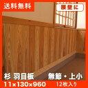 杉 羽目板(腰壁)無節・上小(11×130×960mmハーフサイズ 12枚入り1束 ●本実目透し加工 壁・天井材 木材 板 日曜大工DIYに