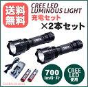 送料無料【2本セット】【CREE LEDルミナスライト 充電セット 7w】