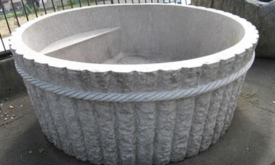 【天然御影石彫刻】 桶風呂