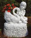 イタリア製子供像(ガーデン オーナメント) 少女と白鳥 DECOR GARDEN PU2081 石像 デコールガーデン社