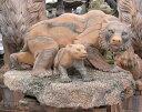 大理石彫刻 熊(クマ)の親子 石像 ピンク 動物像 オブジェ