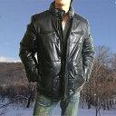 【LEATHERCOLLECTION  No.13】【2008年/2009年秋冬物 最終処分】【高級羊革】羊革ダウンジャケット#黒