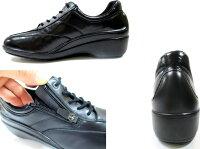 【履くほどに愛着が湧く、手放せない1足になりそう。】[ボンステップ]BonStepbonsrep7013レディース革靴フラットコンフォートファスナーウォーキング旅行靴外反母趾撥水ブラック・レッド