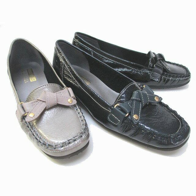 ビタノバ VITA NOVA 9945 レディーストラベルシューズ コンフォートシューズ ローヒール ローファー 本革エナメル リボン 通勤靴 仕事靴 ブラックE ネイビーE ダークシルバーE