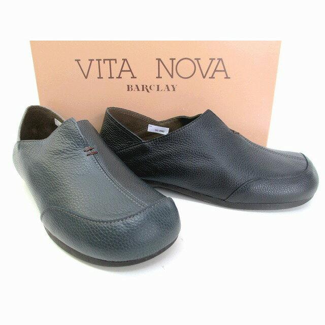 ビタノバ VITA NOVA vita nova 2882 レディース 革靴 スリッポン コンフォート 通勤靴 仕事履き 旅行靴 ローヒール ブラック ネイビー/ダークグレー