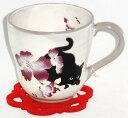 撫松庵 フヨウ(芙蓉) と黒猫 マグカップ(コースター付)プレゼント ギフト 贈リ物 祝 お祝い 記念品