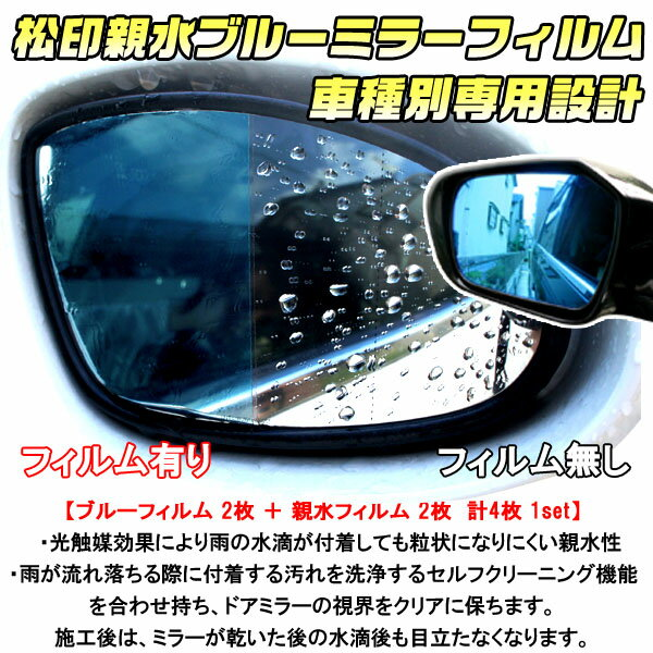【松印】 親水ブルーミラーフィルム 車種別専用設計 ウィッシュ E20