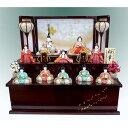 雛人形 木目込み雛 喜久絵作 桜華雛 十人飾り溜塗二段飾り コンパクト 特典品