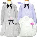 送料無料(ゆうパケット便限定) 女の子 ブラウス 長袖 リボン付き長袖ブラウス 130 140 150 160 165 165 ブルー縞 クロ縞 水玉 75016