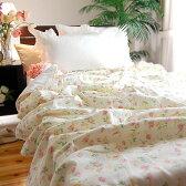 【限定販売】素敵なアイボリーアイリッシュローズ花柄7重ガーゼ綿毛布*シングルサイズ140×210cm★リバティ風花柄 アレルギー敏感肌アトピーの方にも 7重ガーゼケット 大人用 日本製
