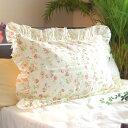 ガーゼ枕カバー*43×63cm【日本製】フリル付きアイボリーアイリッシュローズ花柄マクラカバー ピローケース 綿100% アレルギー敏感肌アトピーも オールシーズン快眠 吸汗速乾/丸洗いOK【松並木】
