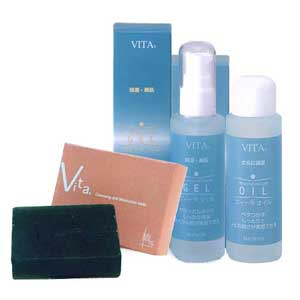 It is recommended on dry skin and mixed skin. A VITA bay chic set of the black silk soap and gel oil. For pimple and skin roughness measures.