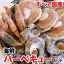 【送料無料】ホタテ(片貝)・サザエ・モサエビの3種海鮮バーベキューセット【冷凍】(さざえ、ほたて、帆