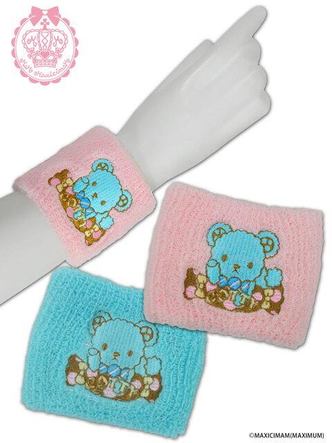 8WR001 チョコミントくまのコティちゃん 刺繍リストバンド【マキシマム/キャラクター/ゆめかわいい】