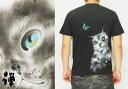 禅[ZEN] 猫と蝶々 手描き和柄Tシャツ/半袖/日本製/KTH0044/送料無料【禅の手描き猫Tシャツ!】[シンプル]
