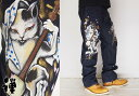 男性流行服飾 - 禅[ZEN] 大きいサイズ40・42 踊り猫又 京雅手描き 和柄ジーンズ/デニム/日本製/ゼン/KD001-121big/送料無料【】