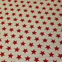 全部で6色! 綿麻キャンバスキルティング 星柄 7A 赤/生成地 【シンプルスター・ベーシックスター・レッド・/ナチュラル】【綿(コットン)80%麻(リネン)20% 110cm幅 日本製】レッスンバッグ・シューズバッグ・クッションカバーやまくらカバー作りにオススメ【10cm単位】