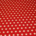全部で6色! 綿麻キャンバスキルティング 星柄 7D 生成/赤地【シンプルスター・ベーシックスター・ナチュラル/レッド】【綿(コットン)80%麻(リネン)20% 110cm幅 日本製】小物雑貨・レッスンバッグ・シューズバッグ・クッションカバー作りにオススメ【10cm単位】